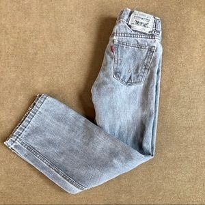 Levi's boys gray distressed straight leg jeans